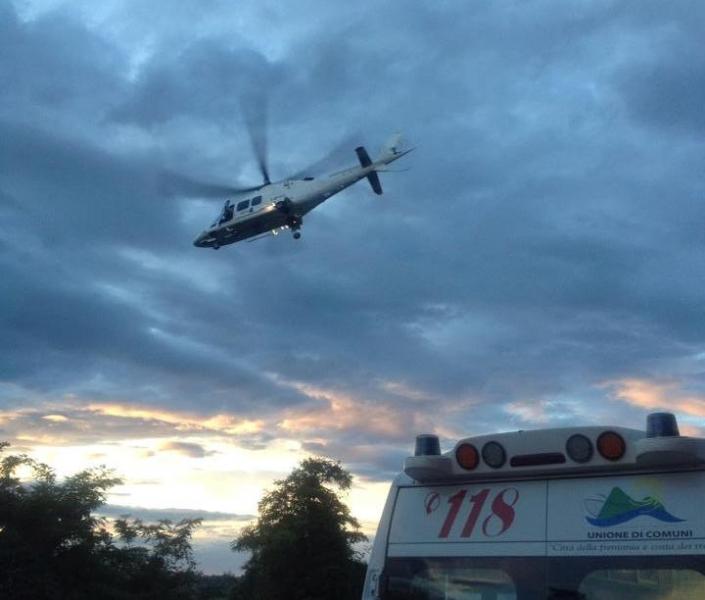L'elisoccorso intervenuto sul luogo dell'incidente
